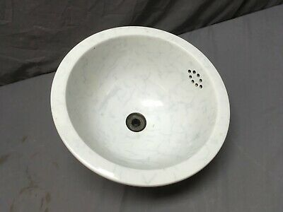 "Antique 12"" Round Ceramic White Porcelain Undermount Marble Sink Basin 65-19E"