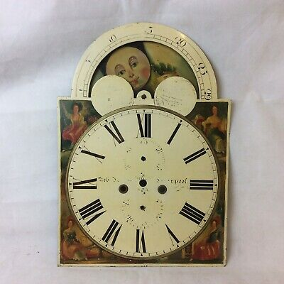 Antique Grandfather Longcase Clock Face Dial With Moonphase Dial