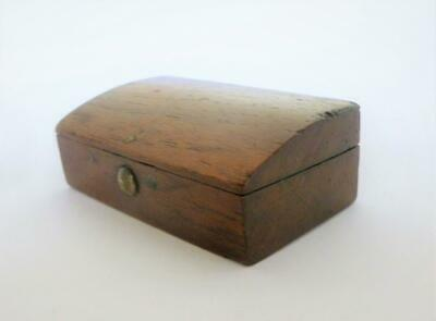 Antique 19th Century Early Victorian Oak Wood Snuff / Quill Pen Nib Box c1840's