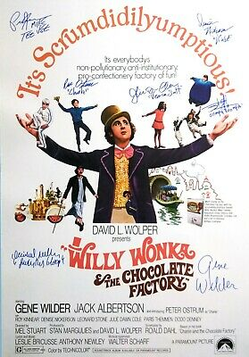WILLY WONKA AND THE CHOCOLATE FACTORY MOVIE Poster Signed by 7 cast replica