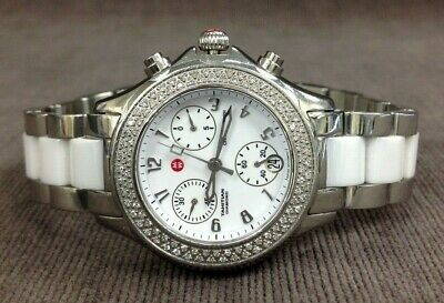 57a681a2b MICHELE Tahitian White Ceramic Stainless Steel Diamond Women's Watch MSRP  $1645
