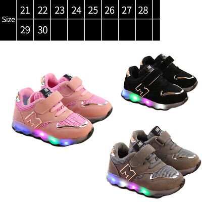 Toddler Kids Mesh Breathable LED Light Up Shoes Boys Girls Baby Sneakers Sport
