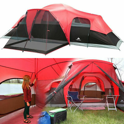 Large Tent Camping Outdoor Ozark Trail 3 Room 10 Person Waterproof Camp BBQ NEW