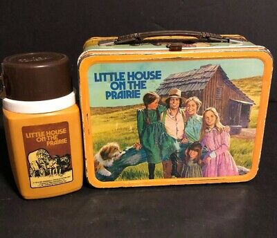 Vintage 1978 Little House On The Prairie Metal Lunch Box W Thermos Lunchbox