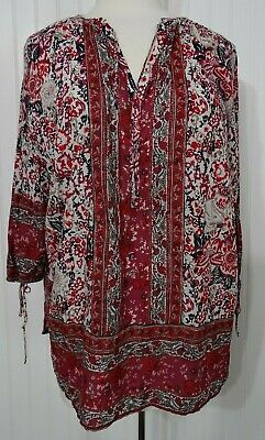 Lucky Brand plus sz 1X tunic top floral paisley print boho maroon red navy white