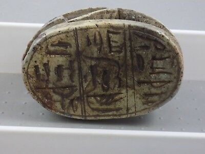 """Vintage Egyptian Carved Soapstone Scarab Beetle Paperweight Hieroglyphics 4"""""""