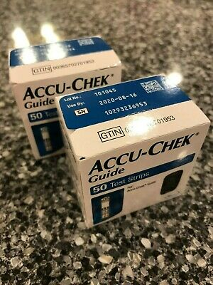100 Accu-Chek Guide Test Strips - 2 Boxes*50=100 Strips - NEW - Exp 2020-09-22