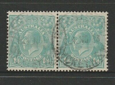 "Australia Pre Decimal Used Stamps - KGV Heads 1/4d ""pair"" C of A WM (2088)"