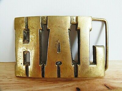 "Vintage ""HAL"" Solid Brass Belt Buckle Cut Out Letters ~VGC~ 1 DAY SHIPPING"