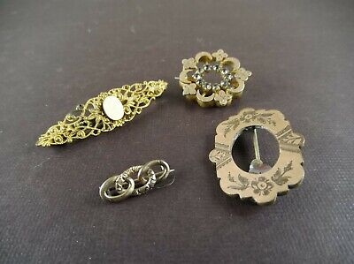 Lot of 4 Antique Victorian Gold Filled Ornate Etched Bar Pin Brooch