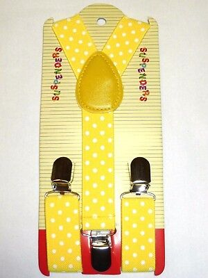 NEW Boys Girls Baby Kids Child Yellow Polka Dot Clip on Elastic Suspender
