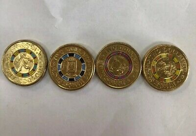 2019 Mr Squiggle Full Set 4 x Coloured $2 Two dollar Coins. All 4 Weeks!!