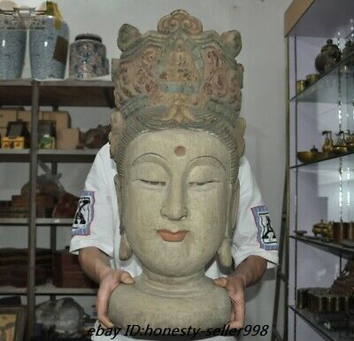 """26"""" Antique Chinese Temple Old Wood Carved Guanyin Kwan-yin Buddha Head Statue"""