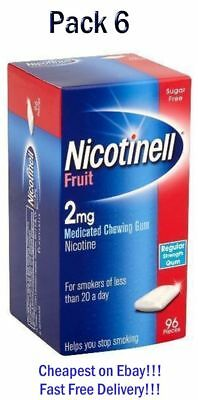 Nicotinell Fruit Gum 2mg of 96 pieces Pack of 6