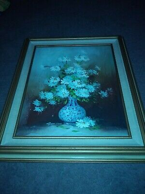 ROBERT COX ~ Still Life Flowers In Blue and White 20 X 16 Framed