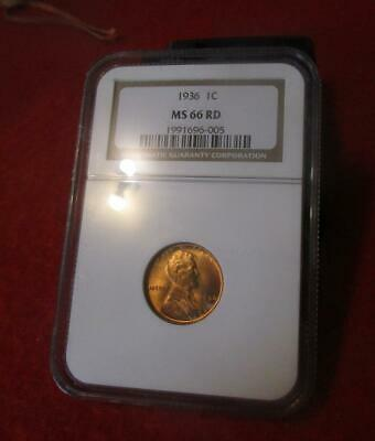 1936 NGC MS 66 RD Red Lincoln Wheat Cent                             #MF-1322