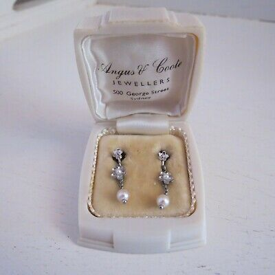 9 ct white gold  art deco 1920-30s screw back pearl earrings Angus & Coote box