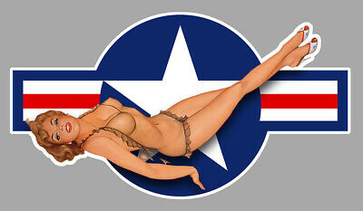 STICKER PIN UP US ARMY NAVY USA PINUP 15cm AMERICAIN DRAPEAU AUTOCOLLANT PC037