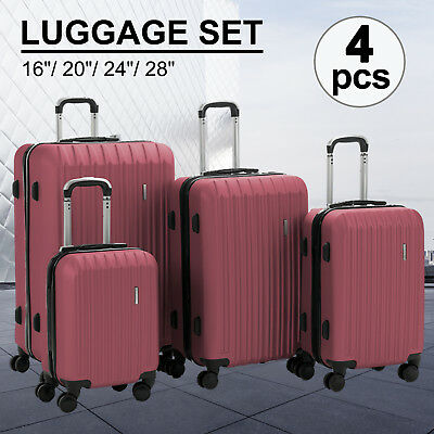 "Set of 4 Luggage Travel Set ABS Trolley Spinner Bag Suitcase 16"" 20"" 24"" 28"" Red"