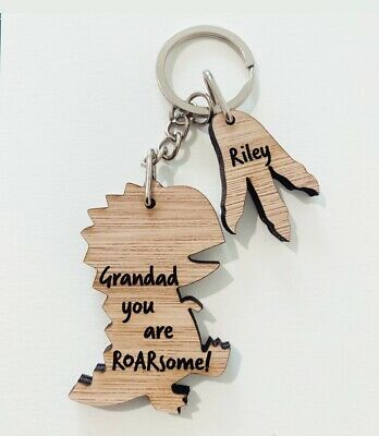 Personalised Fathers Day Gift Wooden Keyring Daddy Grandad Uncle Dad Christmas