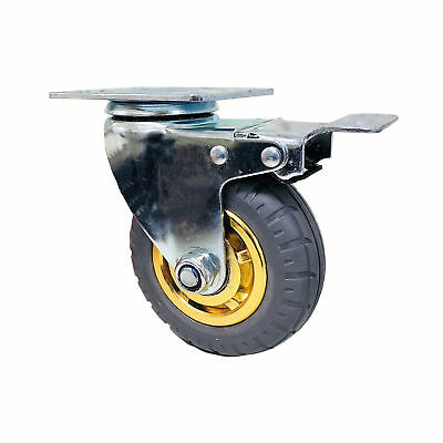 5in/125mm Rubber Heavy Duty Caster Wheel- With Brake, 125kg Load Capacity