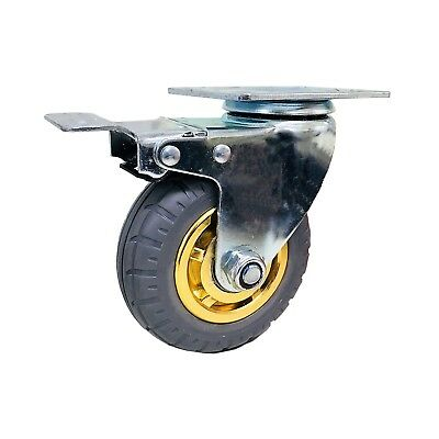 4in/100mm Rubber Heavy Duty Caster Wheel With Brake, 100kg Load Capacity