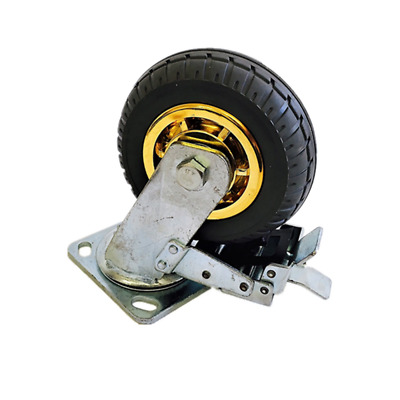 6in/150mm Rubber Heavy Duty Caster Wheel- With Brake, 250kg Load Capacity