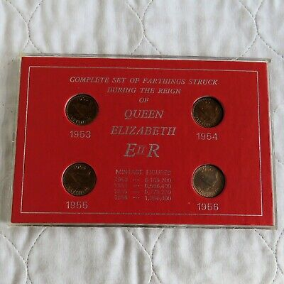 QEII 1953 - 1956 4 COIN COMPLETE FARTHING SET - cased