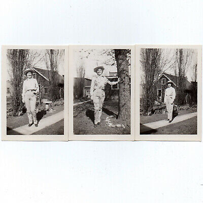 3 Vintage Snapshots ca.1940s Smiling Woman RODEO GIRL Western Clothes Boots Hat