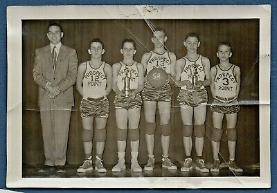 FOUND PHOTO ca.1954 Prospect Point 8th Grade BASKETBALL Team Coach Yearbook-Type
