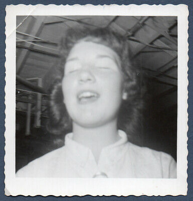 FOUND PHOTO Vintage Snapshot ca.1950s YOUNG LADY Sneeze? ECSTASY? Eyes Closed