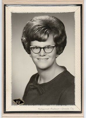 FOUND PHOTO 5x7 SCHOOL DAYS Young LADY Big Hair Cat Eye Glasses Class Of 1968 Ex