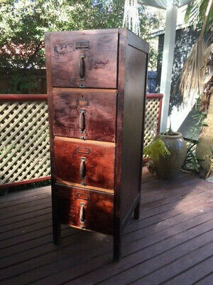 Antique  Solid Vintage wooden file cabinet with four drawers