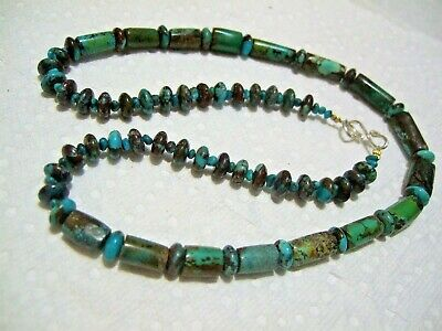 vintage natural outstanding Natural turquoise  Necklace 46-gm S Silver clasp