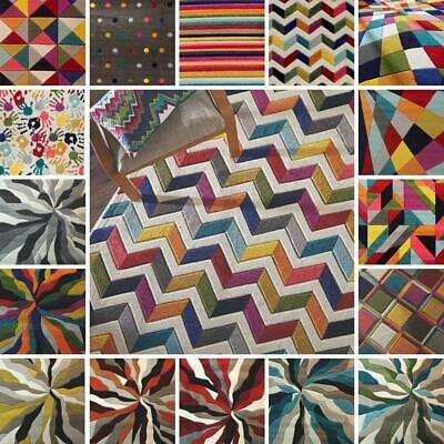 Small Large Multicolour Geometric Abstract Carved Soft Pile Modern Spectrum Rugs