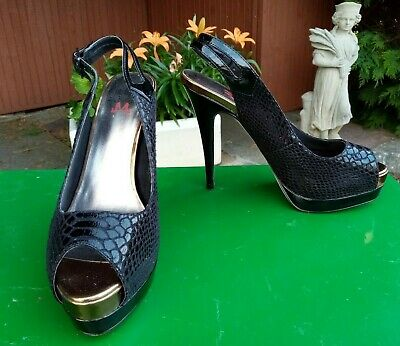 SPOT ON LADIES NAVY MID HEEL CROC EFFECT PATENT TOE COURT SHOES F9735 SIZE 3-8