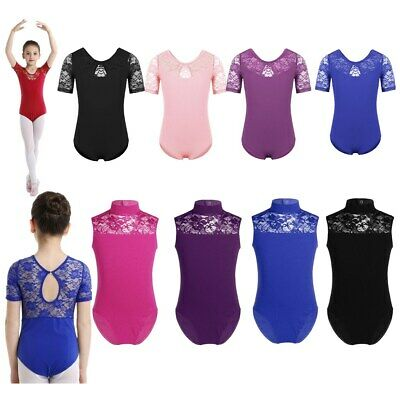 Girls Kids Ballet Dance Dress Leotard Gymnastics Floral Lace Dancewear Costume
