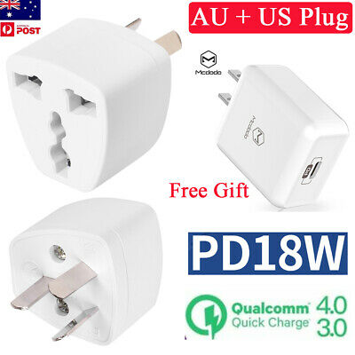 18W QC4.0 PD3.0 PPS USB-C/Type-C to Lightning Cable Wall Charger+AU Plug Adapter