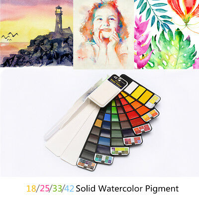 18/25//33/44 Colors Solid Foldable Watercolor Pigment Set With Water Brush