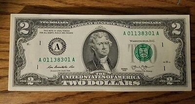 RARE Crisp 2013 Uncirculated $2 Bill Two Dollar Note SEQUENTIAL ORDER Boston - A