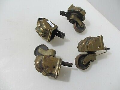 Antique Brass Furniture Castors Trolley Wheels Victorian Vintage Lion Paw Old x4