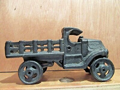 Cast Iron Antique Toy Vintage Black Stake Body Truck 4.5 inch