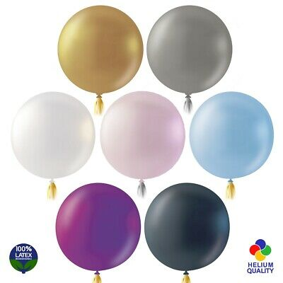 "LARGE 36"" METALLIC/PEARL LATEX BALLOONS & TASSELS Party Birthday Helium Shiny UK"