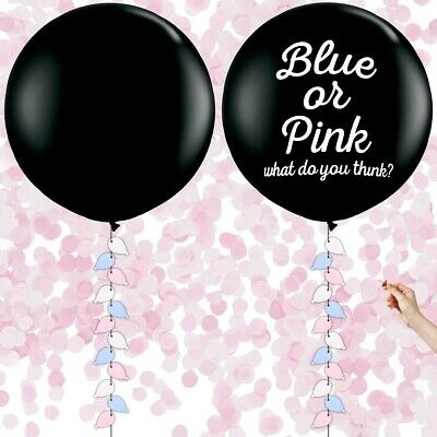 """36"""" BABY GIRL Gender Reveal Balloons & Weights LARGE Pink Confetti Pop Shower UK"""