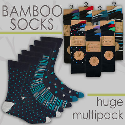 Mens Bamboo Super Soft Gentle 3 6 12 Pairs Luxury Anti Bacterial Socks Size 6-11