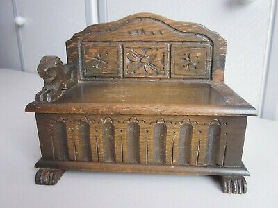 Vintage Old Swiss LADOR Wooden Mechanical Wind Up Music Jewelry Box Carved Wood