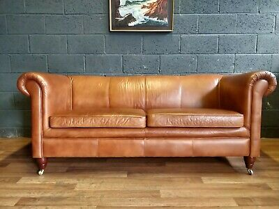 vintage French Art Deco antique Leather Sofa 3 seater.