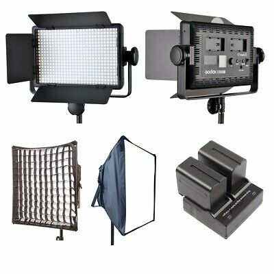 Godox LED500C Kit 3300K-5600K LED Video Light Lamp Panel + Softbox + 2x NP-F970