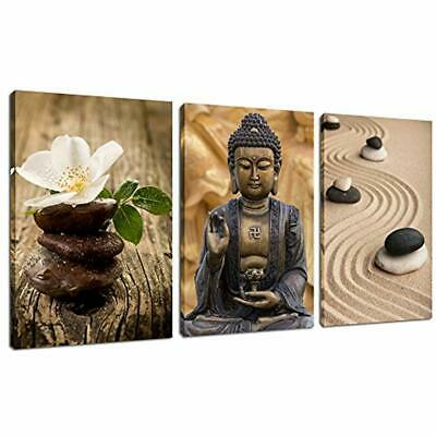 - Buddha Canvas Wall Art Decor Flower And Basalt Stones Picture Photo Stretched