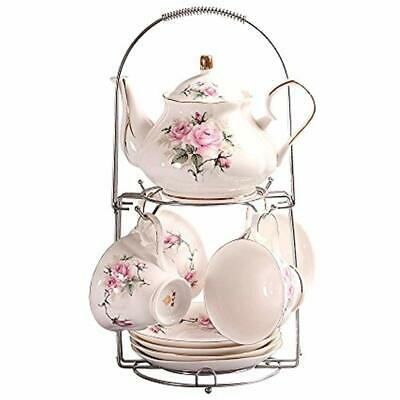 Ufengke 9 Piece European Ceramic Tea Set, Bone China Service Coffee With Metal